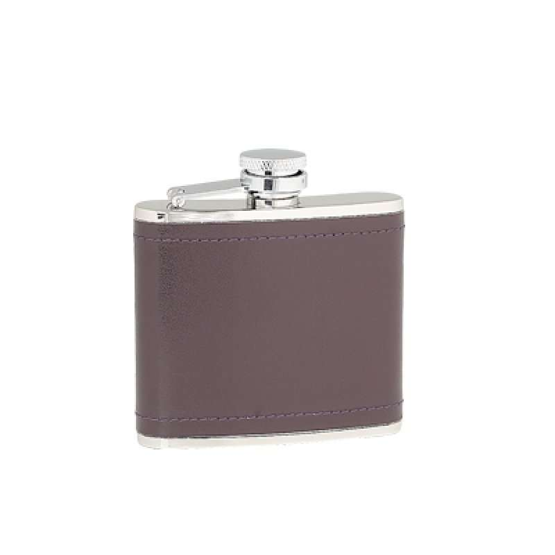 Burgandy Leather 4oz Hipflask